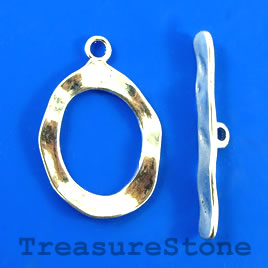 Clasp, toggle, antiqued silver-finished, 24x28mm/39mm. Pkg of 4