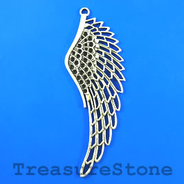 Pendant, silver-finished, 104mm angel wing/ feather. Each.