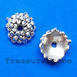Bead cap, antiqued silver-finished, 10x4mm. Pkg of 16