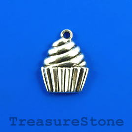 Charm/pendant, silver-plated, 15x16mm cupcake. Pkg of 7.