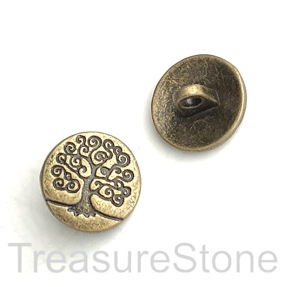 Bead, brass coloured, 14mm tree of life button. Pkg of 6