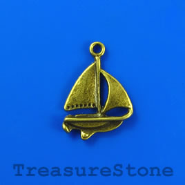 Charm/pendant, brass-finished, 18mm boat. Pkg of 8.