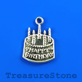 Charm/pendant, silver-plated, 15x18mm birthday cake. Pkg of 7.