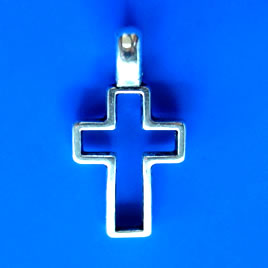 Pendant/charm, silver-finished, 20x28mm open cross. Pkg of 4.