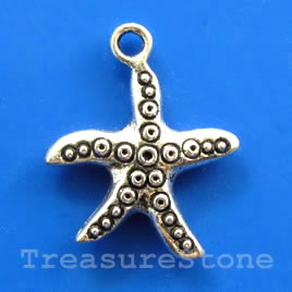 Pendant/charm, silver-finished, 21x22mm starfish. pkg of 5.