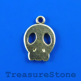 Charm/pendant, silver-plated, 13x15mm skull. Pkg of 10.