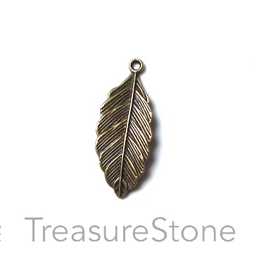 Charm/pendant, brass finished, 12x28mm leaf. Pkg of 7.