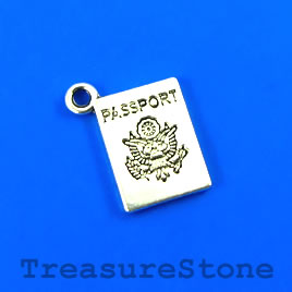 "Charm/Pendant, silver-plated, 11x15mm ""Passport"". Pkg of 12"