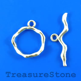 Clasp, toggle, antiqued silver-finished, 18mm/30mm. Pkg of 5.