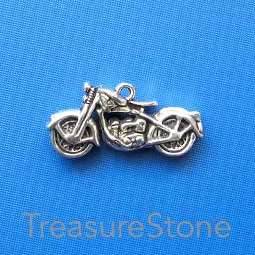 Charm/Pendant, silver-plated, 34x17mm motorcycle. each