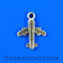 Charm/pendant, silver-plated, 16x17mm air plane. Pkg of 10.