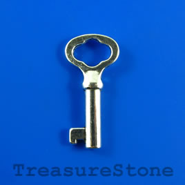 Pendant, 18x40mm silver-colored key. Pkg of 2.