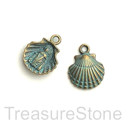Charm/ pendant, patina-finished, 14mm Shell. Pkg of 10.