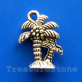 Pendant/charm, 13x17mm palm tree. Pkg of 8.