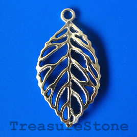 Pendant, silver-finished, 26x45mm filigree leaf. Pkg of 2.