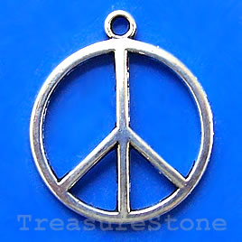 Pendant/charm, silver-finished, 24mm Peace symbol. Pkg of 8.