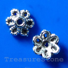 Bead cap, antiqued silver-finished, 5x3mm. Pkg of 22