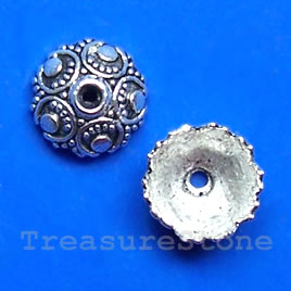 Bead cap, antiqued silver-finished, 10x5mm. Pkg of 20.