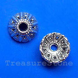 Bead cap, antiqued silver finished, 11.5x6mm. pkg of 14.