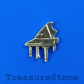 Bead/charm, silver-colored, 14x17mm piano. Pkf of 15.