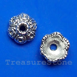 Bead cap, antiqued silver-finished, 8x4mm. Pkg of 20