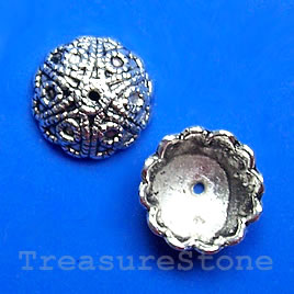 Bead cap, antiqued silver-finished, 13x5mm.pkg of 16