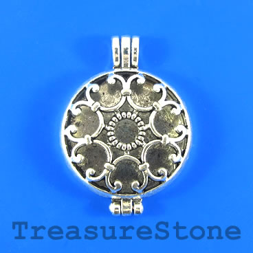 Floating Locket Pendant, pewter, silver, 33mm. Sold individually