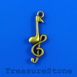 Pendant, brass-finished,12x30mm music note, treble clef.Pkg of 8