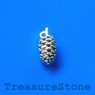 Charm, silver-plated, 9x18mm pine cone. Pkg of 6.
