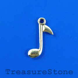 Charm/pendant, 15x20mm music note. Pkg of 12.