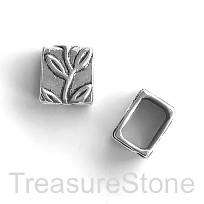 Bead, silver,13x14x11mm rectangle, large hole, 7x10mm cord. 6