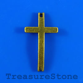Charm/pendant/link, brass colored, 14x25mm cross. Pkg of 5.