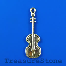 Pendant, silver-plated, 13x38mm guitar. Pkg of 4.