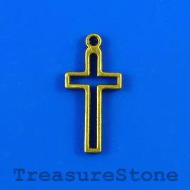 Charm/pendant, brass-plated, 11x20mm cross. Pkg of 5.