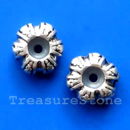 Silver Finish with elastic center. 12x5mm. large hole:5mm. 5pcs