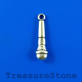Charm, silver-finished, 7x24mm microphone. Pkg of 10.