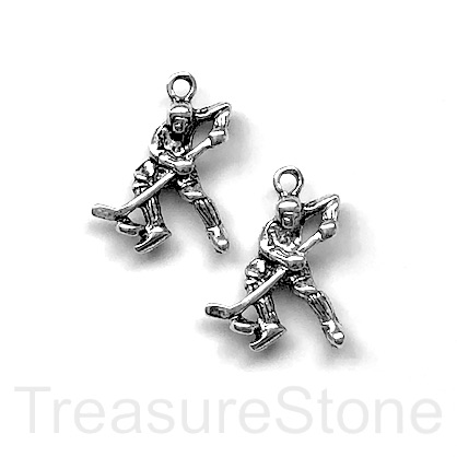Charm, pendant, silver-finished, 18x20mm Hockey player. Pkg of 5