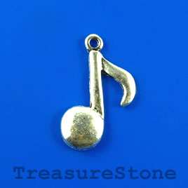 Pendant/charm, silver-finished, 17x22mm music note. Pkg of 11.