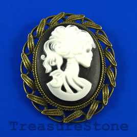 Pendant/Boucher pin, Brass, 45x55mm lady skeleton cameo. Each