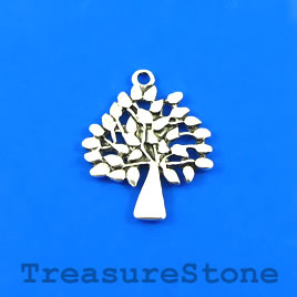 Charm/Pendant, silver-plated, 23x25mm Tree of Life. Pkg of 6.