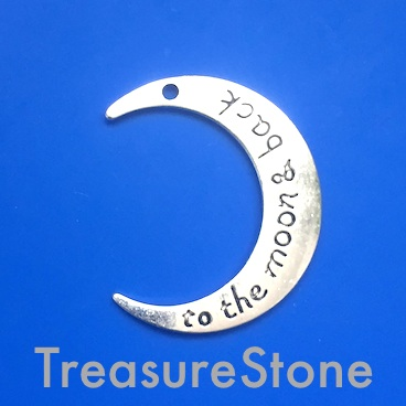 "Pendant, ""to the moon & back"", 25x29mm crescent moon. Pkg of 6"