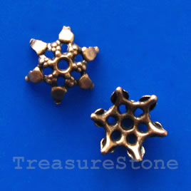 Bead Cap, copper-finished, 7x4mm Nickel Free. Pkg of 16.