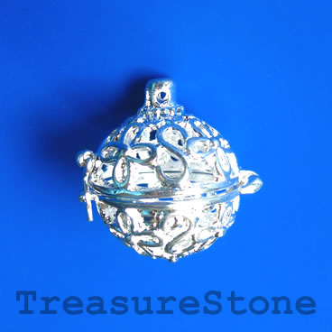 Locket Pendant, Silver colored, 23mm. Each.