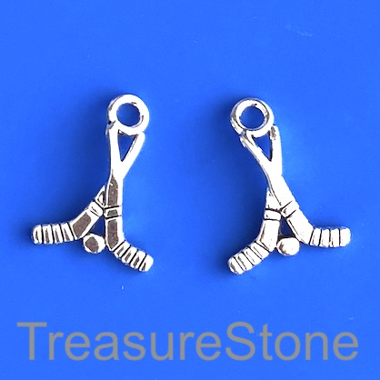 Charm, silver-finished, 16x28mm Hockey Sticks and Buck.Pkg of 10