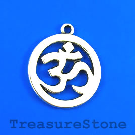 Charm/Pendant, silver-plated, 25mm Yoga Ohm/om/Aum. Pkg of 4