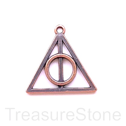 Pendant, copper, 27x32mm Harry Potter, Deathly Hallows, 3pcs