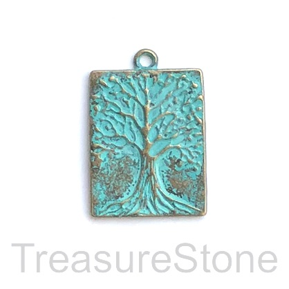 Pendant, patina-plated, 22x28mm Tree of Life. Pkg of 2.