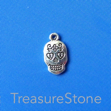 Charm, 10x15mm sugar skull. Pkg of 12.