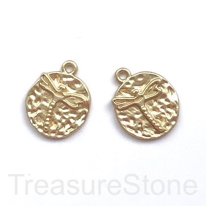Charm, pendant, gold matte, 17mm hammered disc, dragonfly, 3pcs