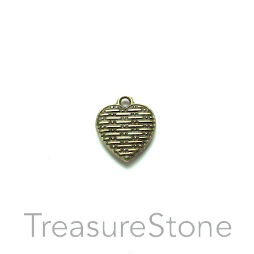 Charm, brass-plated, 10mm heart. Pkg of 12.